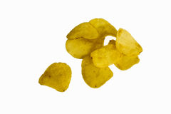 Les pommes chips d'isolement sur le fond blanc, frites se ferment  Photographie stock