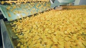 Les pommes chips se d?placent le long du transporteur Production de pommes chips clips vidéos
