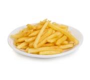Les pommes de terre fait frire dans le plan rapproché de plat d'isolement sur un fond blanc Image stock