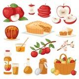 Les pommes dirigent l'applepie sain avec la confiture et l'applejuice des fruits frais dans le jardin avec l'illustration d'apple Photographie stock