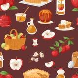 Les pommes dirigent l'applepie sain avec la confiture et l'applejuice des fruits frais dans le jardin avec l'illustration d'apple Photos stock