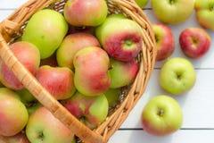 Les pommes fraîches moissonnent dans un panier sur un fond en bois Photographie stock