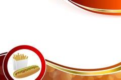 Les pommes frites blanches abstraites de hot-dog de fond enferment dans une boîte l'illustration rouge d'or jaune illustration libre de droits