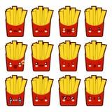 Les pommes frites d'émoticône d'Emoji avec beaucoup d'ensemble de variation de kawaii font face à des émoticônes de pommes frites Photographie stock