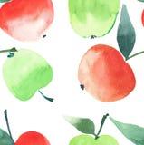 Les pommes juteuses lumineuses modèlent le croquis sans couture de main d'aquarelle Images libres de droits