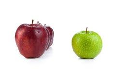 Les pommes marron ont aligné dans une rangée et un plan rapproché vert de pomme photographie stock libre de droits