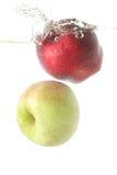 Les pommes portent des fruits dans l'éclaboussure Photos libres de droits