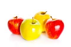 Les pommes rouges d'isolement sur la pomme blanche de fond porte des fruits Photos libres de droits