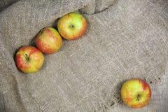 Les pommes sur le fond de la toile photographie stock libre de droits