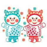 Les porcelets L'illustration a de Noël jumelle des porcelets et des flocons de neige Image avec 2 porcs dans des vêtements d'hive illustration libre de droits