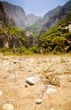 Les portes à la vallée sauvage de Megalo Seitani échouent, Samos Images stock
