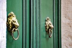 Les portes de Venise avec le heurtoir de porte sous forme de lion se dirigent photos libres de droits