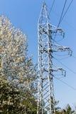 Les poteaux de ligne électrique Photos stock