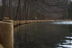 Les poteaux en bois par le lac étayent un jour froid image libre de droits