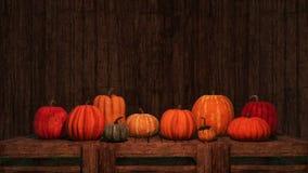 Les potirons de thanksgiving copient le fond en bois de l'espace illustration de vecteur