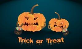 Les potirons mauvais de Halloween se tiennent avec illustration libre de droits