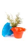 Les pots de poterie de terre peuvent planter d'isolement avec le fond blanc Photographie stock libre de droits