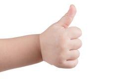 Les pouces d'approbation aiment le signe, geste de main caucasien d'enfant d'isolement au-dessus du blanc image stock