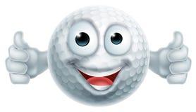 Les pouces de boule de golf de bande dessinée lèvent le caractère d'homme Photos stock