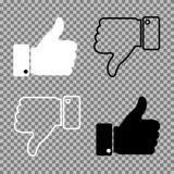 Les pouces lèvent des pouces vers le bas sur le fond Illustration de vecteur illustration stock
