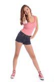 Les pouces lèvent le signe de réussite par la belle fille d'adolescent images libres de droits