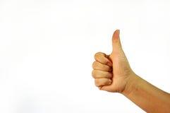 Les pouces vers le haut de la main se connectent le fond blanc Photos libres de droits