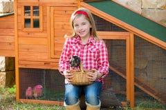 Les poules d'éleveur badinent l'agriculteur de propriétaire d'un ranch de fille avec des poussins dans la cage de poulet Image stock