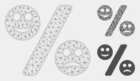 Les pour cent d'émotion dirigent l'icône de mosaïque de Mesh Network Model et de triangle illustration libre de droits
