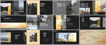 Les présentations de concept de voyage conçoivent, des calibres de vecteur de portfolio avec les éléments graphiques sur le noir  illustration libre de droits