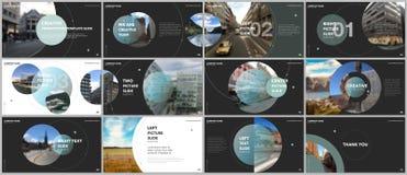 Les présentations minimales conçoivent, des calibres de vecteur de portfolio avec des éléments de cercle sur le fond noir Calibre illustration libre de droits
