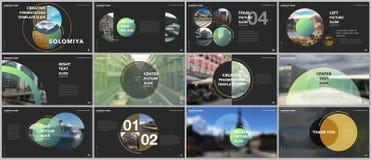 Les présentations minimales conçoivent, des calibres de vecteur de portfolio avec des éléments de cercle sur le fond noir Calibre illustration de vecteur