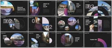 Les présentations minimales conçoivent, des calibres de vecteur de portfolio avec des éléments de cercle sur le fond noir Calibre illustration stock