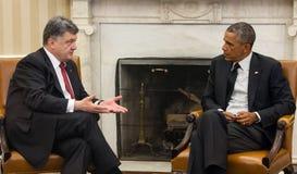 Les Présidents Barack Obama et Petro Poroshenko Photo libre de droits