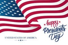 Les Présidents heureux Day célèbrent la bannière avec onduler le drapeau national des Etats-Unis et remettent des salutations de  illustration de vecteur