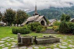 Les Praz Church in Chamonix, France. Les Praz Church in Chamonix, Auvergne-Rhône-Alpes in France Royalty Free Stock Photo