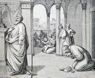 Les prières de la lithographie de Pharisiens et de percepteurs  photographie stock