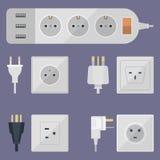 Les prises électriques empilent l'Européen électrique de prises de débouchés de prise d'énergie d'illustration de débouché et l'a Image libre de droits