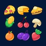 Les produits alimentaires ont décrit les autocollants puérils réglés pour le concepteur du jeu instantané comprenant des fruits,  illustration libre de droits