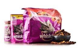Les produits d'aliments pour chats de Whiskas de Mars ont incorporé Images libres de droits