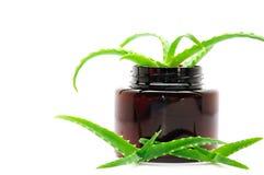 Les produits de beauté écrèment avec l'aloès vera Images stock