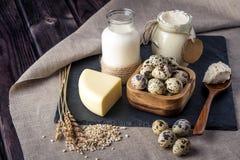 Les produits de la ferme d'Eco traient, fromage, crème sure, le yaourt, oeufs sur le fond en bois foncé Le concept de la maison a Images stock