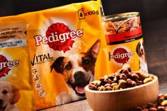 Les produits de pure race d'aliments pour animaux de compagnie de Mars ont incorporé Photographie stock libre de droits