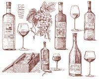 Les produits de récolte de vin, presse, raisins, vignobles vrille des bouteilles en verre dans le style de vintage, gravé tiré pa Images libres de droits