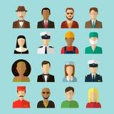 Les professions dirigent les icônes plates Photos stock