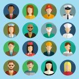 Les professions dirigent les icônes plates Photo stock