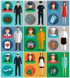 Les professions dirigent les icônes plates Photographie stock libre de droits
