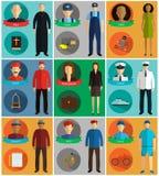 Les professions dirigent les icônes plates Image stock