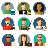 Les professions dirigent les icônes plates Images libres de droits