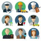 Les professions dirigent les icônes plates Images stock