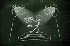 Les projecteurs sur le succès, soient le numéro un (la version masculine) Photos libres de droits